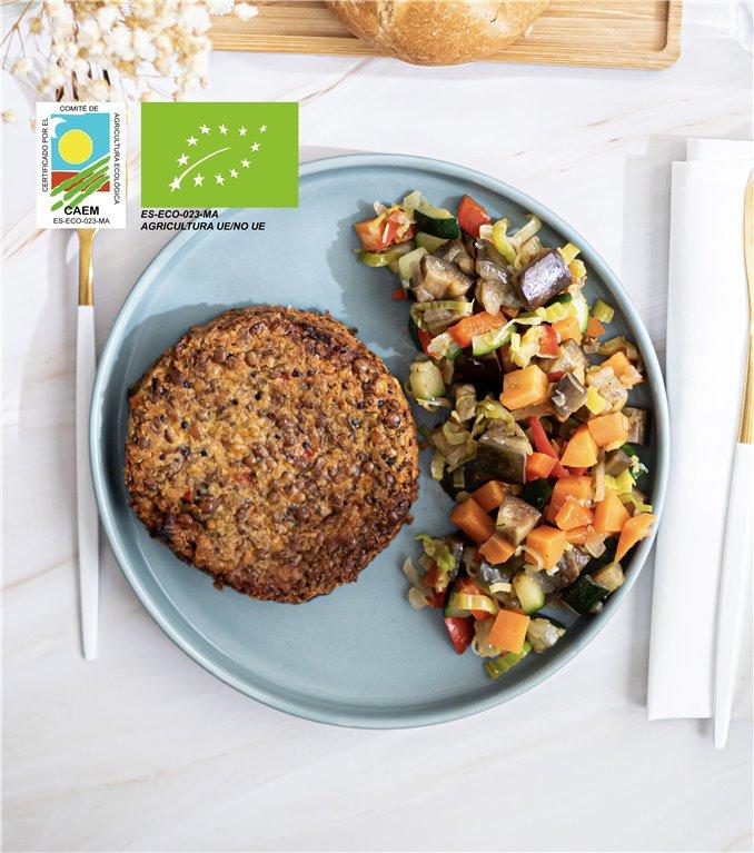 Burger vegana de lentejas y quinoa con verduras de temporada
