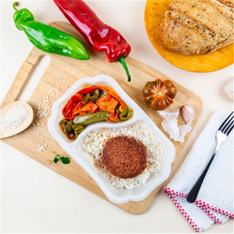 Burguer Heura 100% vegetal con arroz y pimientos