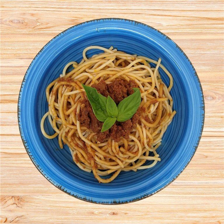Espaguetis Pesto Rojo