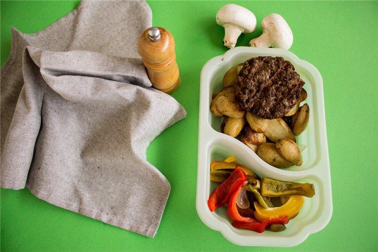 Hamburguesa de ternera con patatas y verduras (H8)