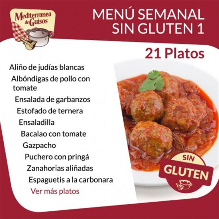 Pack Menú Semanal Sin Gluten 1. Asesorados por ASPROCESE-FACE RESTAURACIÓN.