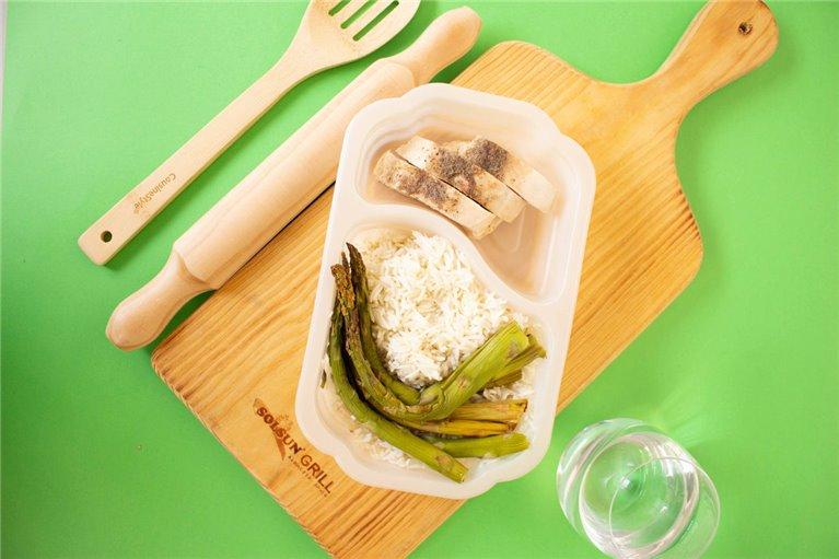 Pechuga de pollo con arroz y espárragos (G1)