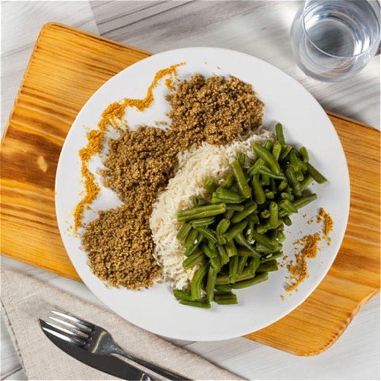 Quinoa con arroz y judias verdes