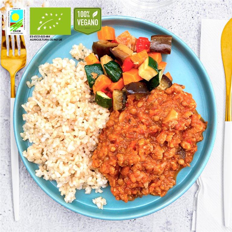 Ragout veggie, arroz integral y verduras de temporada BIO
