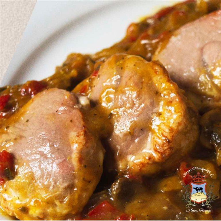 Solomillo de cerdo en salsa de champiñones
