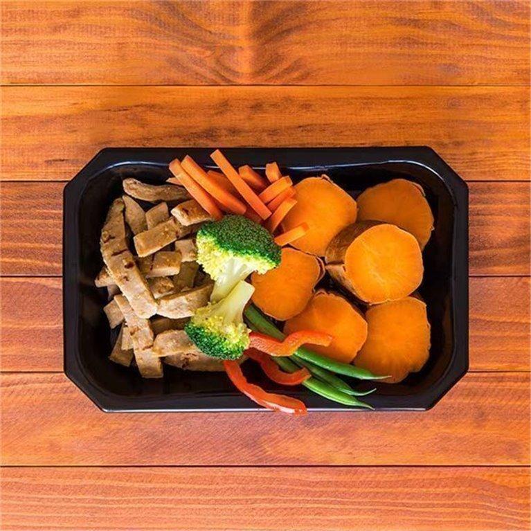Tiras de Heura con boniato y vegetales