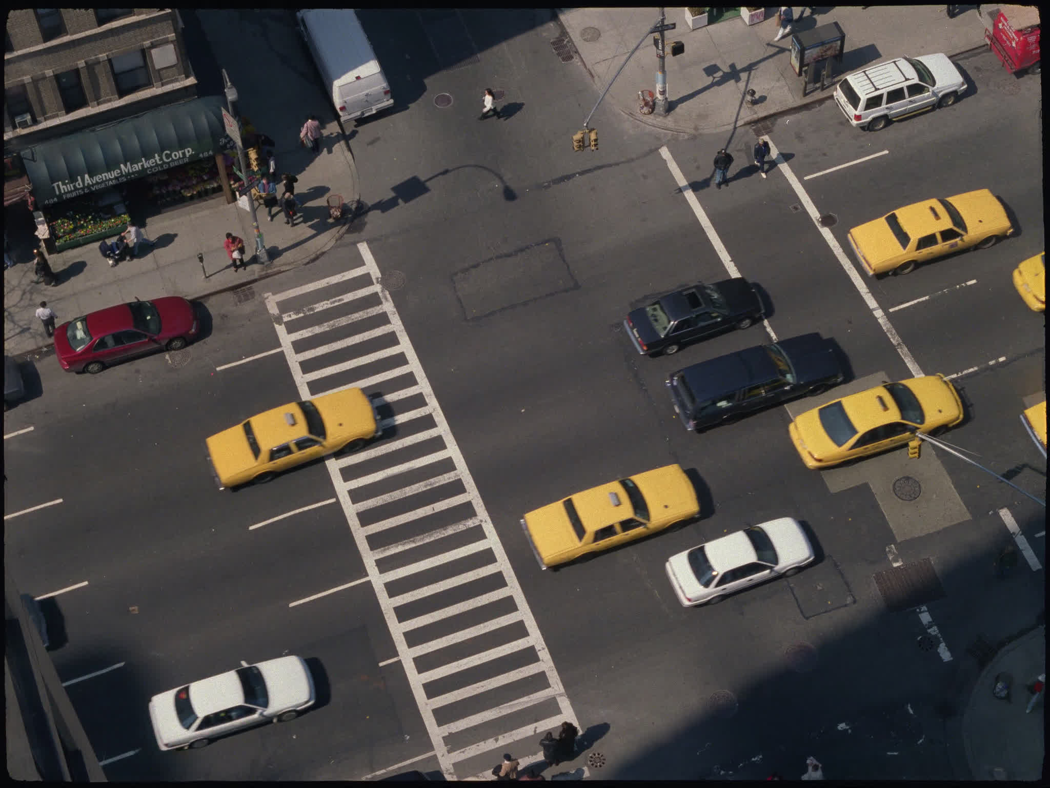 New York Traffic Birds Eye View Archive Film Footage R3el The