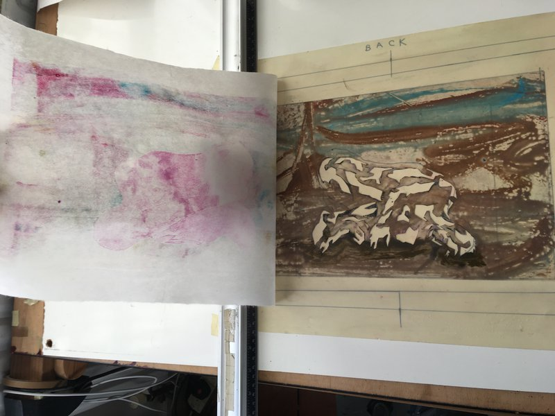 5 Multi-Layered print exercise - First stencil to be printed as a monoprint layer