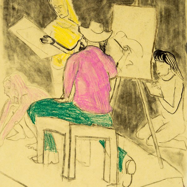 A Group of Women Drawing a Clothed Man Drawing a Naked Woman