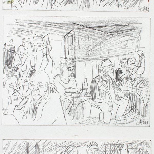 (T-B) Three Men Dancing; People at Trisha's; A Man Leaning in to Hear a Joke