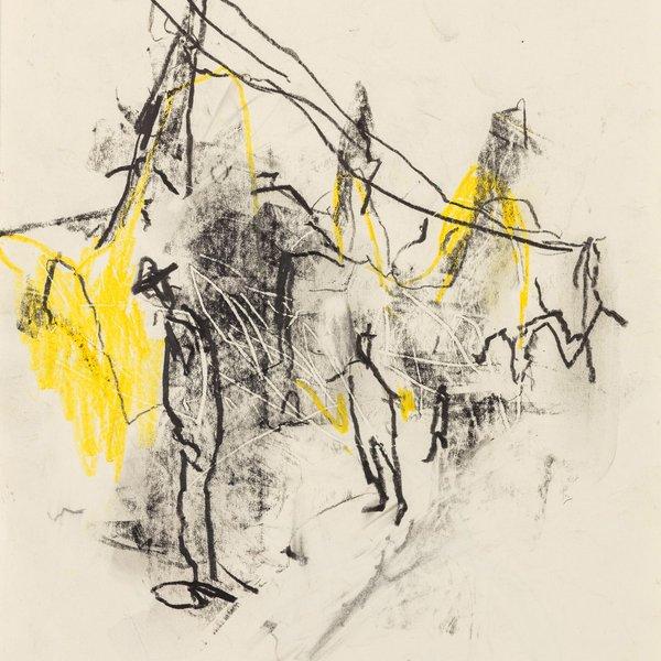 Street scene with yellow
