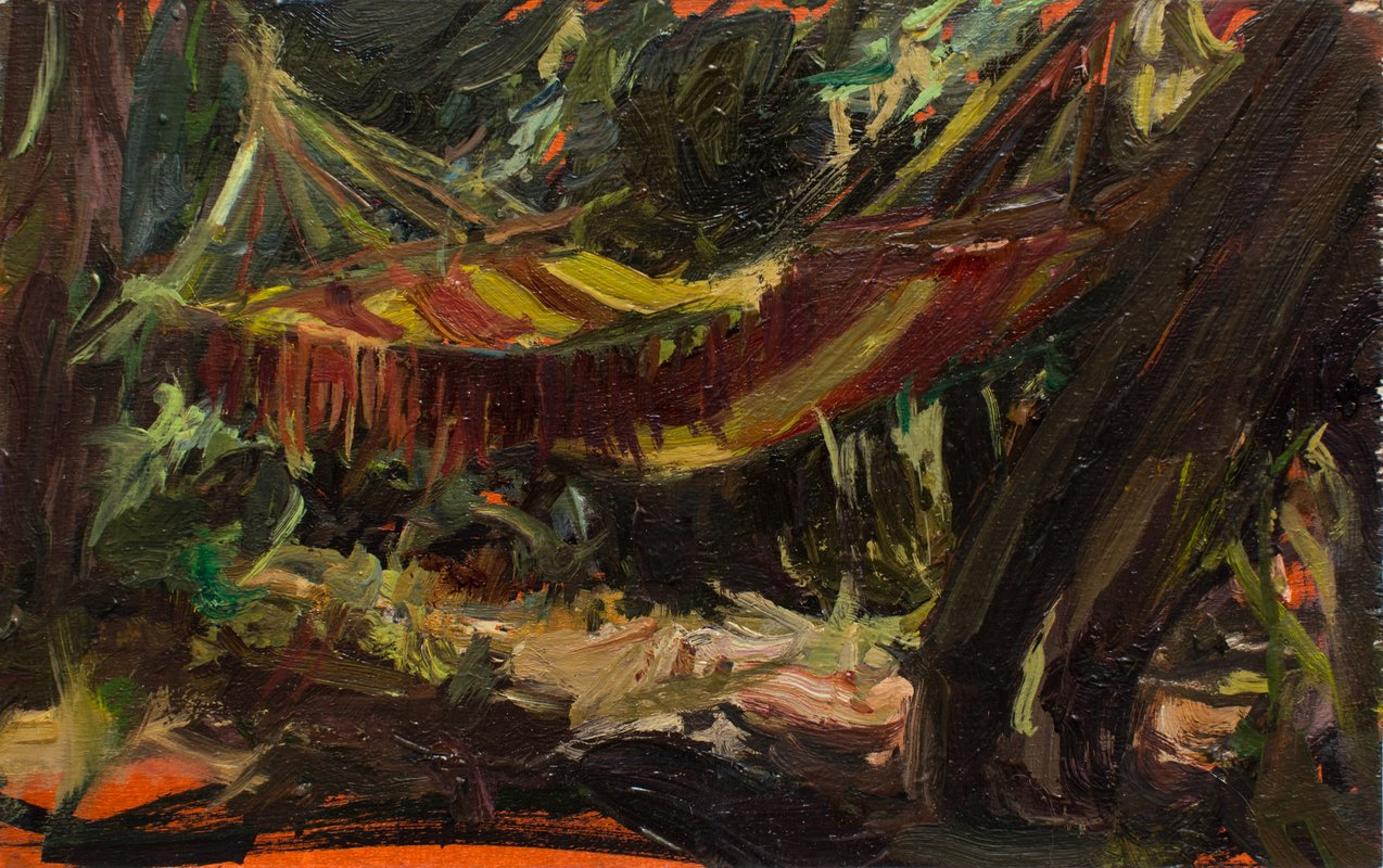 <h3>Small Hammock</h3><span>2015-16 | Oil on board | 15 x 23.9 cm</span>