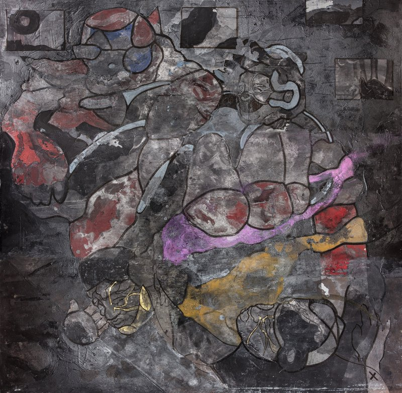 CARBON SPECTRE IV. 2021. 183x183. ACRYLIC, CHALK, CHARCOAL, GRAPHITE, INK, WATER. WOOD_Lead Image.jpg