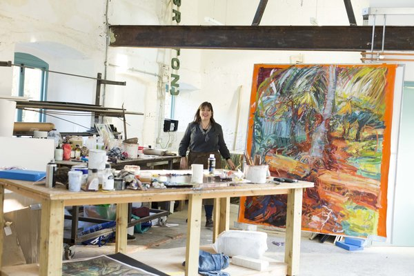 Catherine Goodman taking part in an artist residency at Hauser & Wirth Somerset, Bruton, UK, 2018