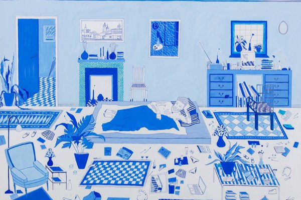 Boy in Blue Bedroom