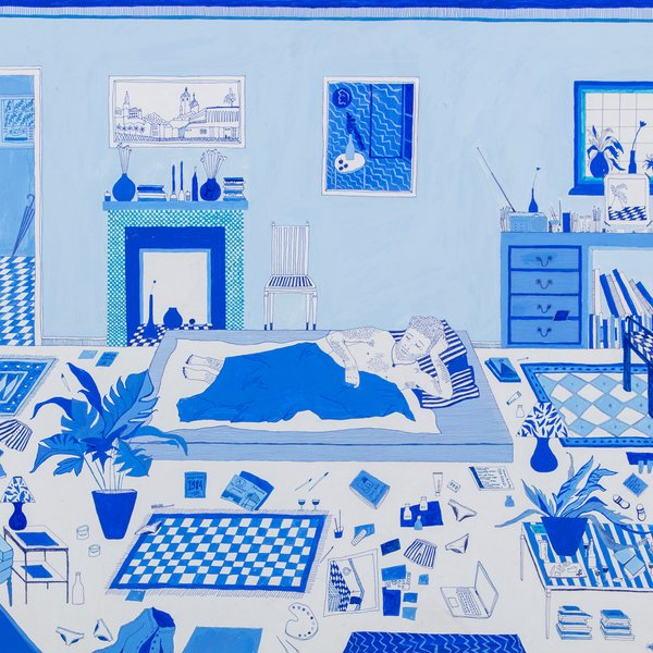 Boy in Blue Bedroom