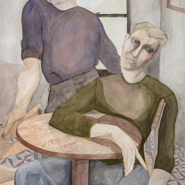 Two waiting figures at a table