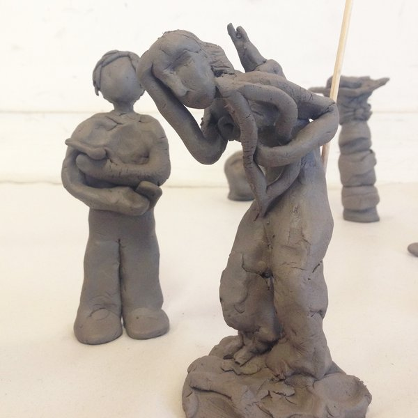 Sculptures by Lakshmi Maslen, aged 14 and Ruben Do Dower, aged 15