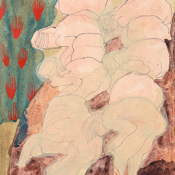 Untitled, Small figures hunched with flames