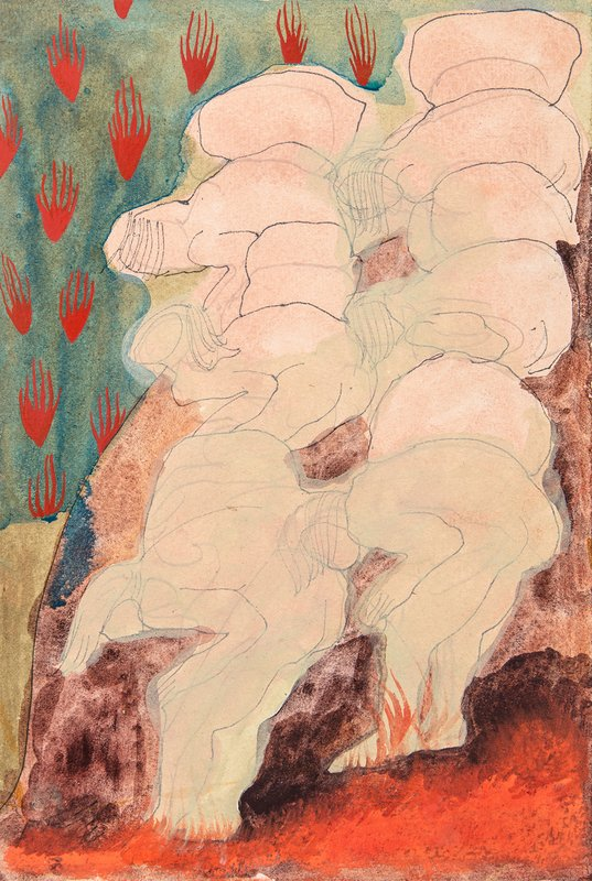 Untitled, Small figures hunched with flames<span>Copyright Ella Walker</span>