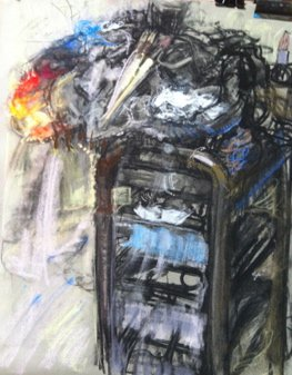 <h3>Paint Trolley</h3><span>Charcoal and pastel on paper | 57 x 77 cm</span>