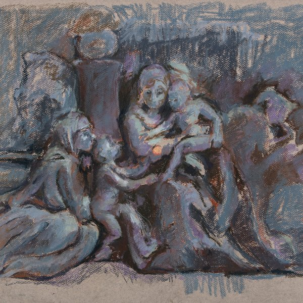 After Poussin, drawing from wax model based on the Madonna of the steps