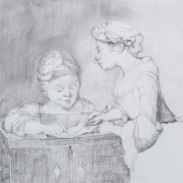 After Chardin, study of the young school mistress