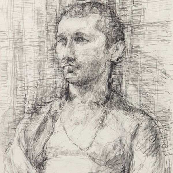 Study of a man with tartan cloth
