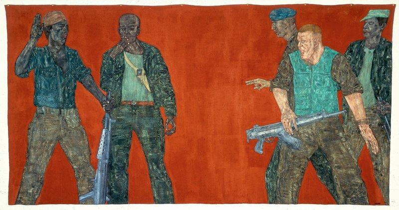 Leon Golub Mercenaries IV', 1980, acrylic on linen'. Meyer Collection, Chicago