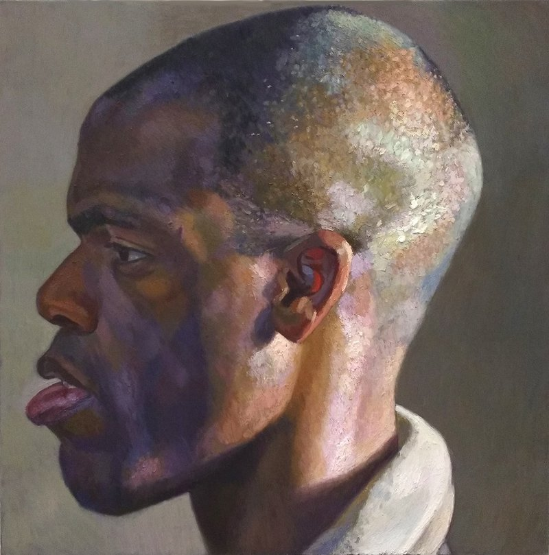 Nahem Shoa (b. 1968), Giant Head of Gbenga Profile, Oil on Canvas, 2003, VIS.5981. Lent by Museums Sheffield .jpeg