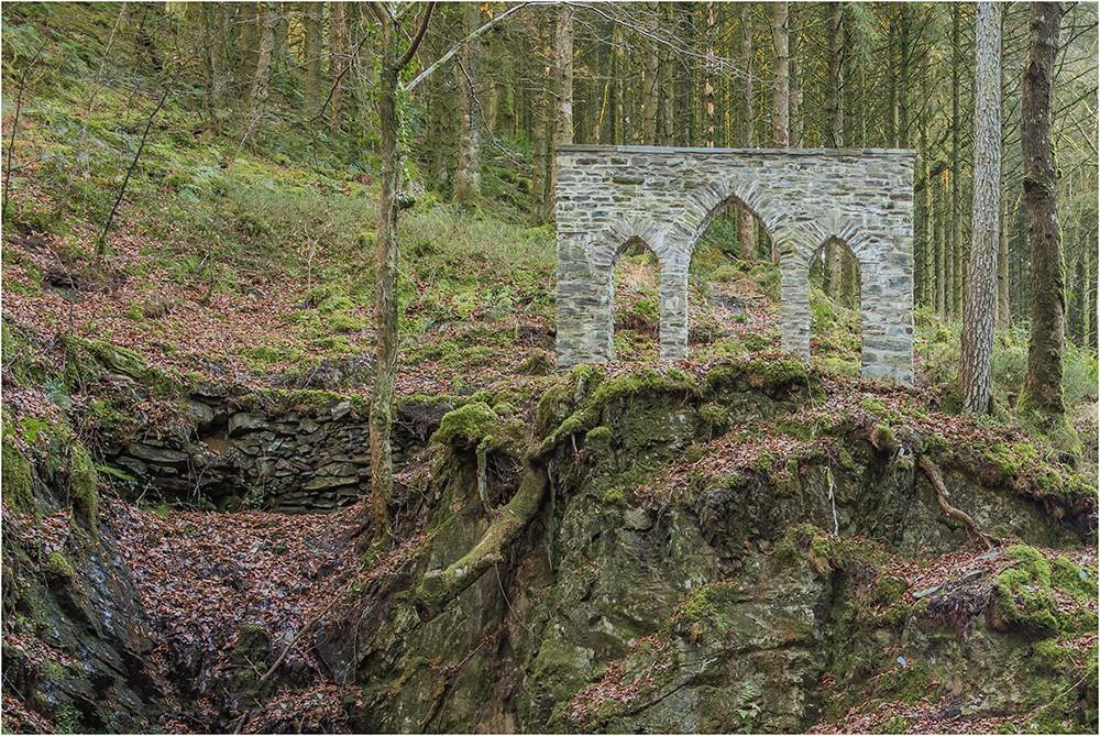 Ruins in the woodlands of the Hafod Estate, Wales <span>© Philip Lamb</span>