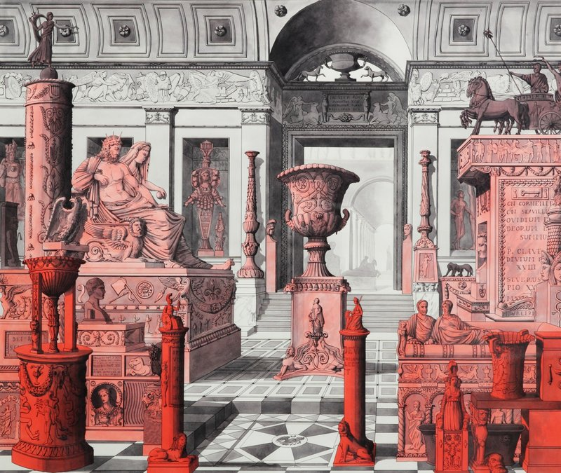 Pablo Bronstein_Red Objects in a Museum Interior