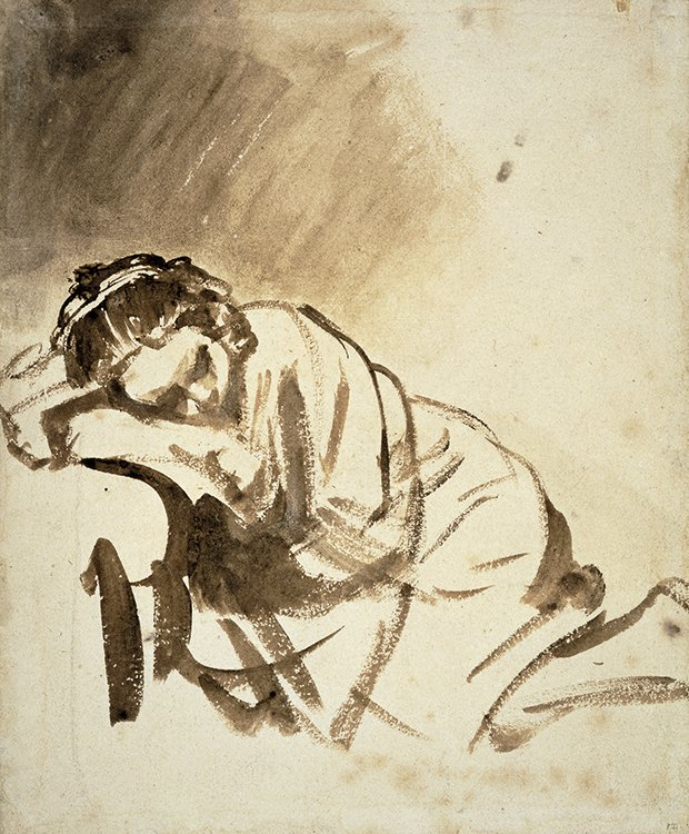 Rembrandt van Rijn (1606–1669), Woman Sleeping. Brush and brown wash drawing, c. 1654. (Copyright British Museum)