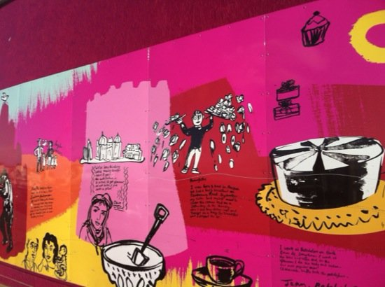 Detail from 48m hoarding in Margate made as part of 'Pie Days and Holidays Project'<span>Copyright Sophie Herxheimer</span>