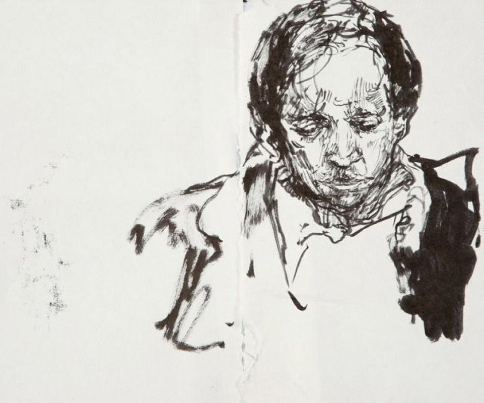 <h3>Vikram Seth</h3><span>2011 | Pen and ink on paper | 200 x 250 mm</span>
