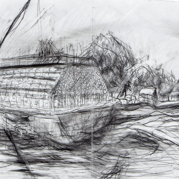 Study of Christo captured under construction