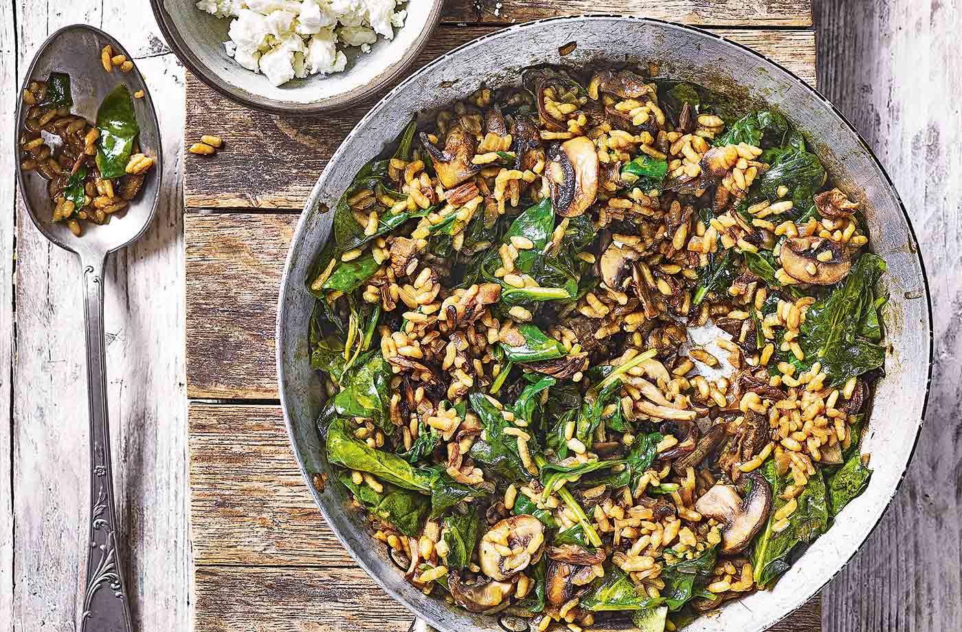 mushroom and feta risotto