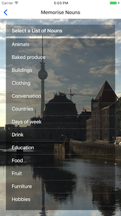 Help Me Learn A1 German app screen-shot, select a list of nouns to memorise