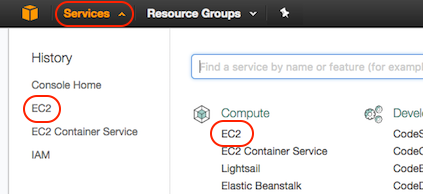 AWS console screen shot, EC2 page