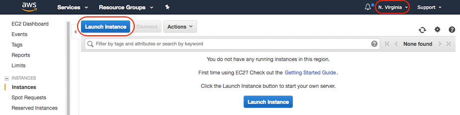 AWS console screen shot, Launch instance