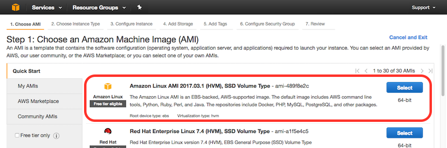 AWS console screen shot, choose AMI page
