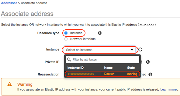 AWS console screen shot, select instance page