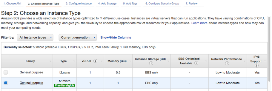 AWS console screen shot, choose instance type page