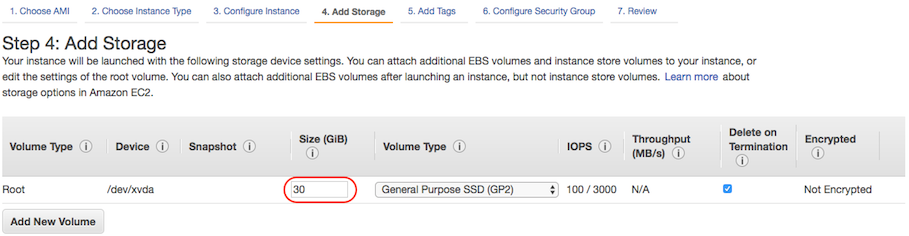 AWS console screen shot, Add Storage page