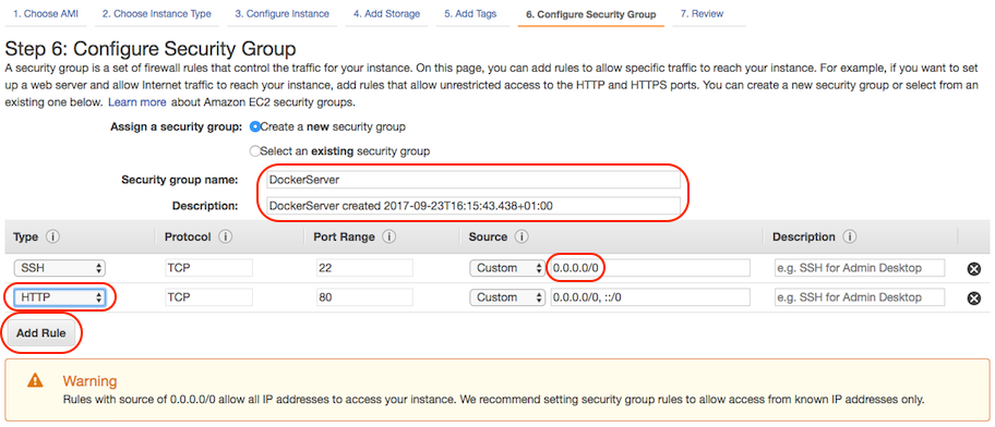 AWS console screen shot, Configure Security Group page