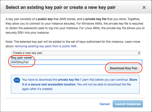 AWS console screen shot, select key pair page