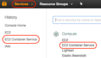 AWS console screen shot, EC2 Container Service page
