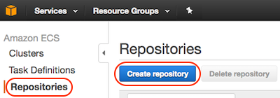 AWS console screen shot, repositories page
