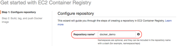 AWS console screen shot, configure repository page