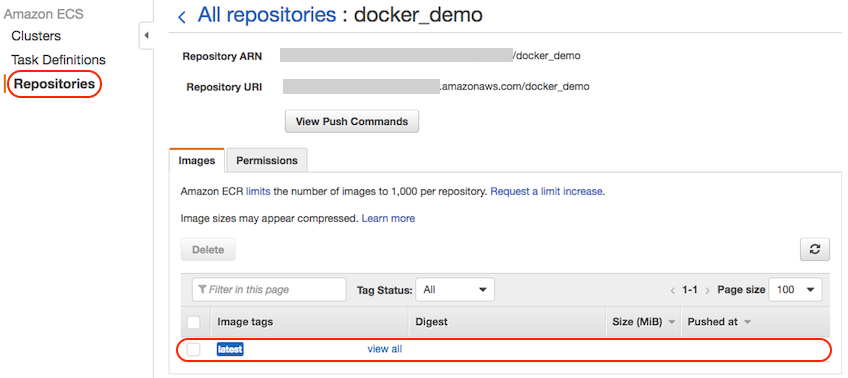 AWS console screen shot, list of Docker images